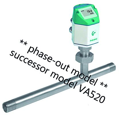 Flow sensor VA 420 with integrated measuring section
